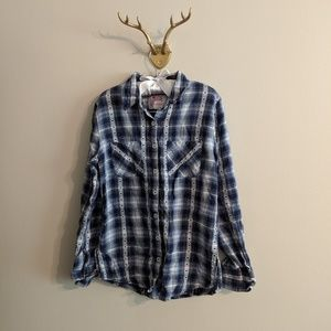 Justice Girl's blue and white plaid button down